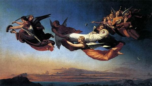 Ангелы несут мощи Екатерины Александрийской над Синаем. Картина Генри Леманна, 1839