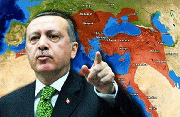 Эрдоган на фоне карты Османской империи