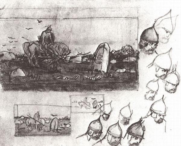 Виктор Васнецов. Черновые наброски к картине «Витязь на распутье», 1870-е