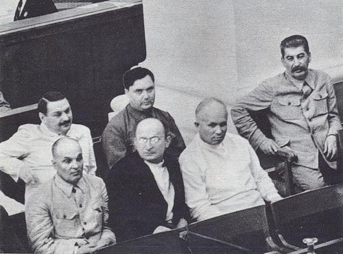 Жданов, Маленков, Шкирятов, Берия, Хрущев, Сталин