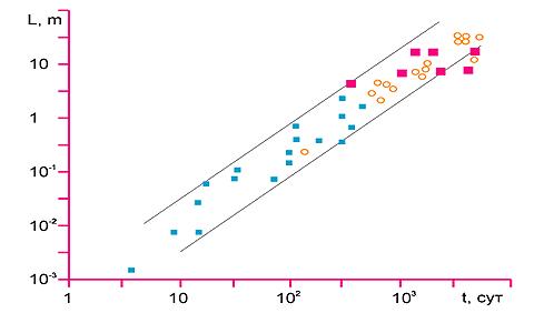 Рис. 3. Зависимость размеров эмбрионов, ядерных реакторов и космических аппаратов от времени, затраченного на их создание, сопоставление эмпирических данных (точки) с турбулентной моделью (прямые, А. Серебров, О. Доброчеев)