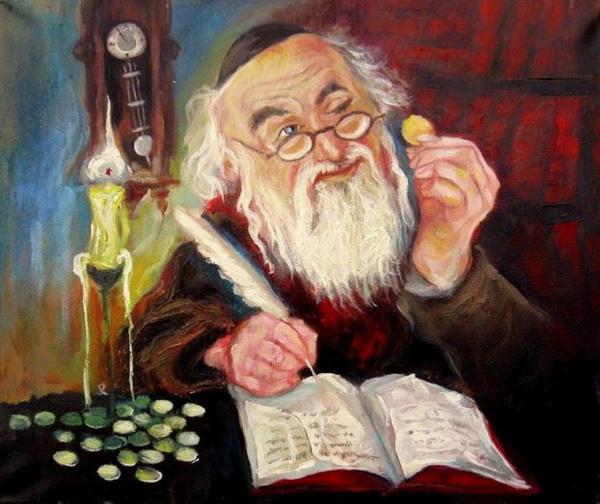 Еврей, считающий монеты, - к деньгам