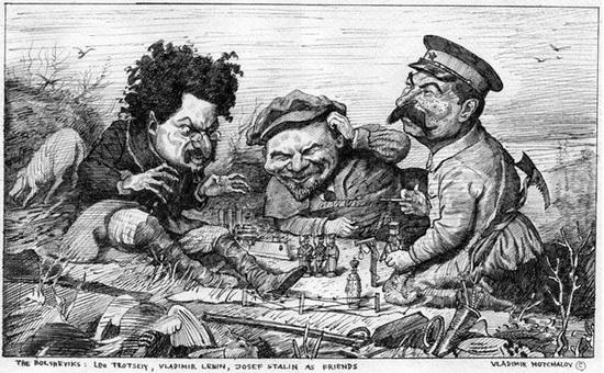 Карикатура Троцкий, Ленин и Сталин друзья