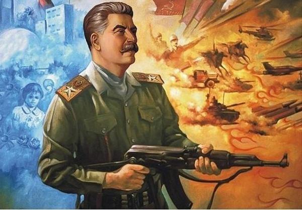 Товарищ Сталин с автоматом Калашникова. Современное творчество