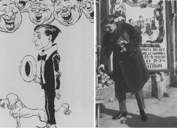 Михаил Зощенко. Слева шарж Б. Е. Ефимова. Справа  фотография 1923 г. Москва.