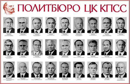 Политбюро ЦК КПСС. Горбачев-то уже как высоко залетел!