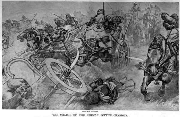 Персидские колесницы в битве при Гавгамелах. Andre Castaigne (1898-1899)