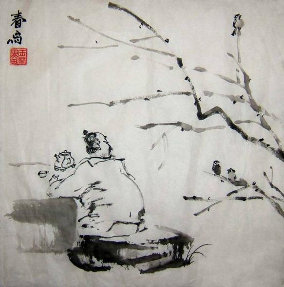 Китаец-гадальщик пьет чай