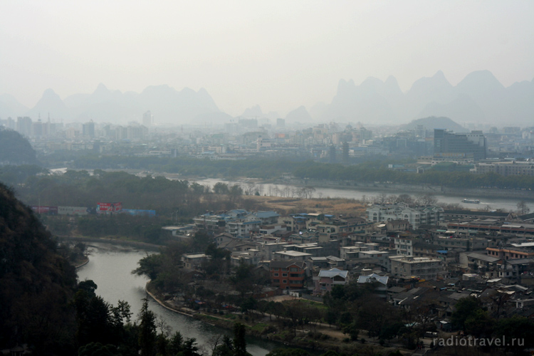 Guilin, panoramic view from Seven Star Park, Китай зимой