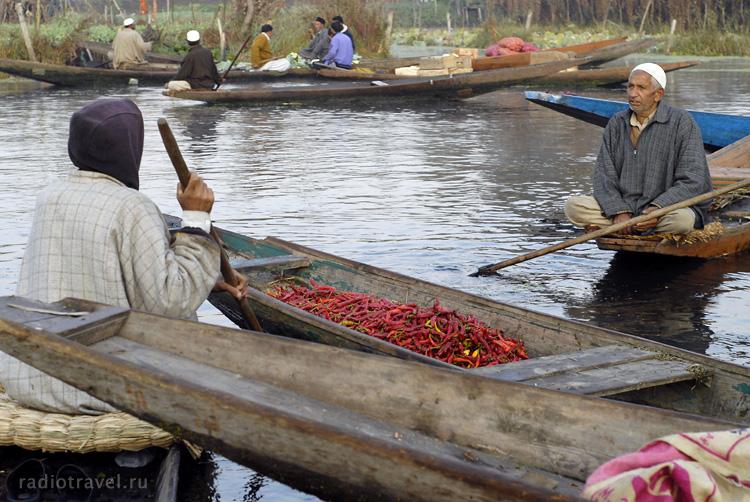 Шринагар, озеро Дал Лей, торговля перцем