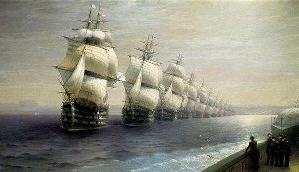 Смотр Черноморского флота в 1849 году. Картина Ивана Айвазовского